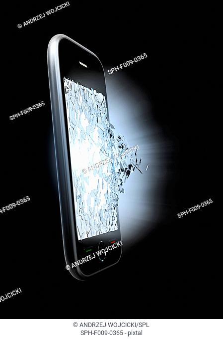 Broken smartphone screen, artwork