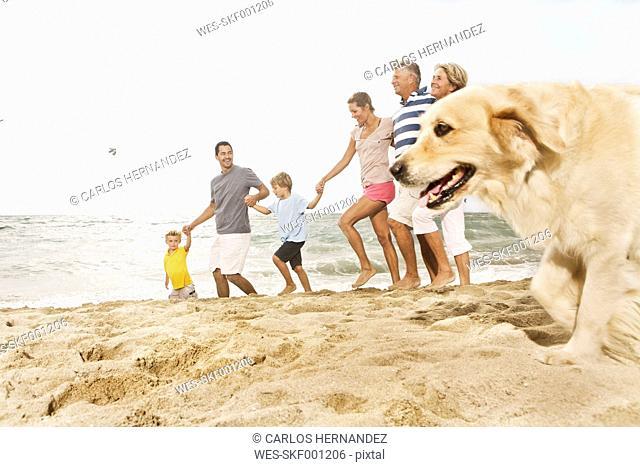 Spain, Family walking on beach at Palma de Mallorca