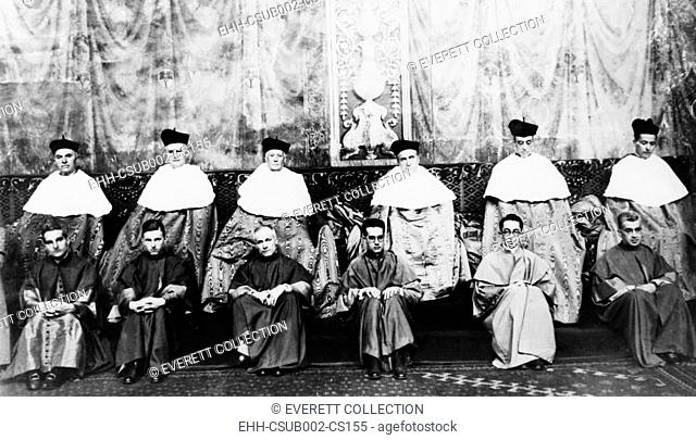 Roman Catholic Bishops after their elevation to Cardinals on Dec. 16, 1929. Sistine Chapel, Vatican. Eugenio Pacelli, the future, Pope Pius XII