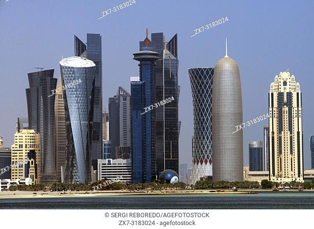 Skyline with the skyscrapers in the financial area of Doha, the capital of Qatar in the Arabian Gulf country