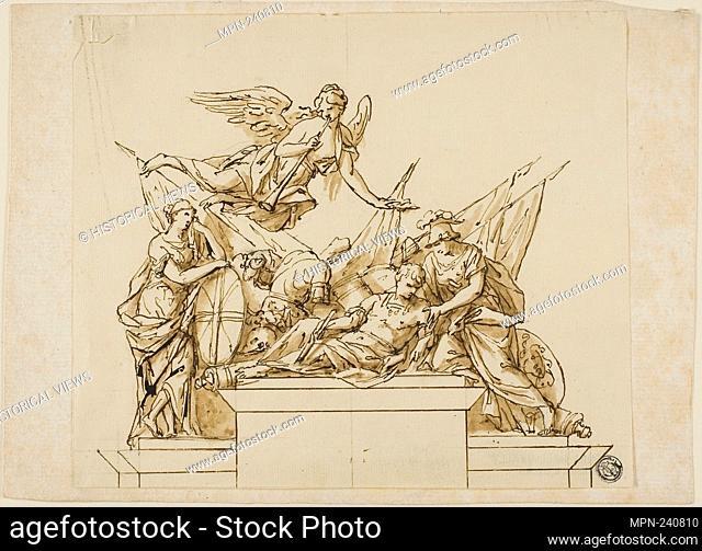 Unexecuted Design for the Monument to the First Duke of Marlborough - c. 1733 - John Michael Rysbrack (Flemish, 1693-1770) or Richard Wilson (English