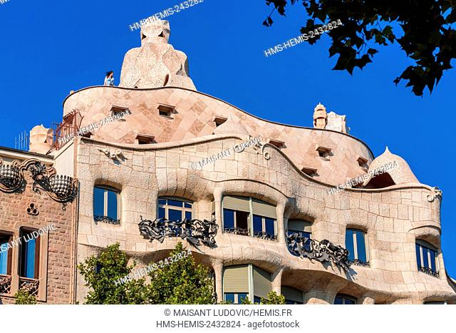 Spain, Catalonia, Barcelona, Eixample, Passeig de Gracia, Casa Mila, known Pedrera building designed by the Catalan architect Antoni Gaudi and listed as World...