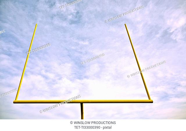 Low angle view of american football goal post