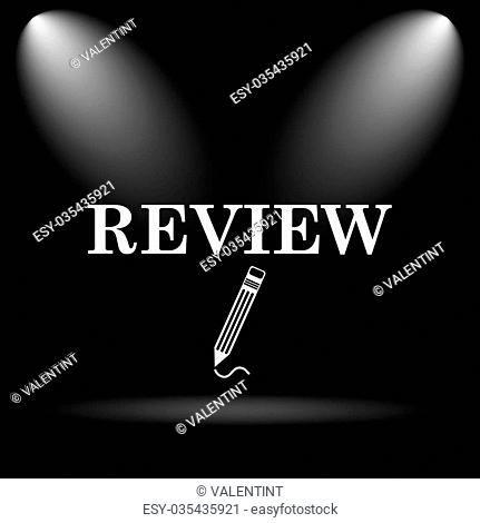 Review icon. Internet button on black background