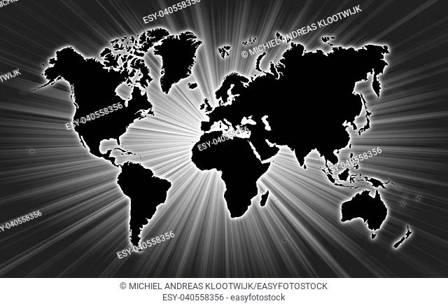 Map of world with starburst on background, black