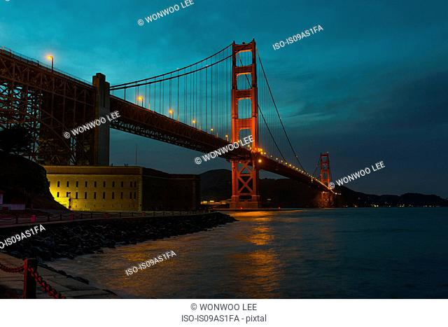 View of Golden Gate Bridge at night, San Francisco, California, USA