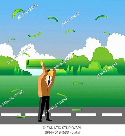 Businessman carrying money on his head, illustration