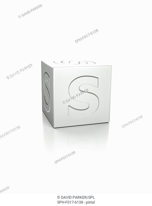 Cube with the letter S embossed