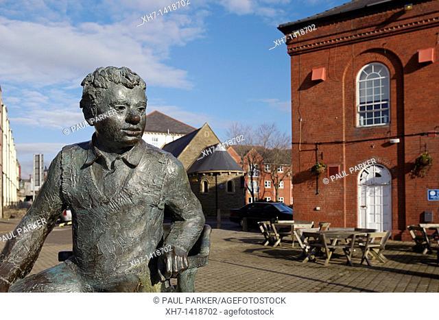 Statue of Dylan Thomas, Swansea Marina, Swansea, Wales, UK