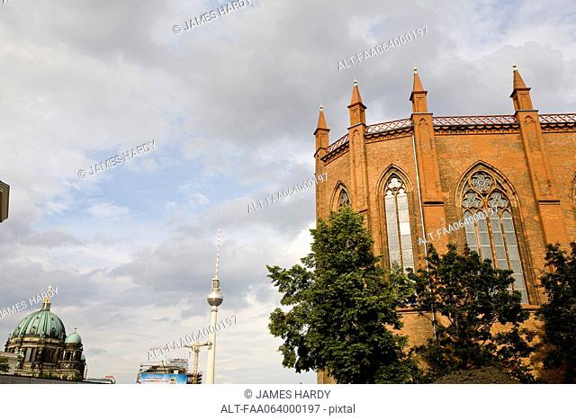 Germany, Berlin, Friedrichswerder Church, Fernsehturm television tower and Berlin Cathedral visible in background