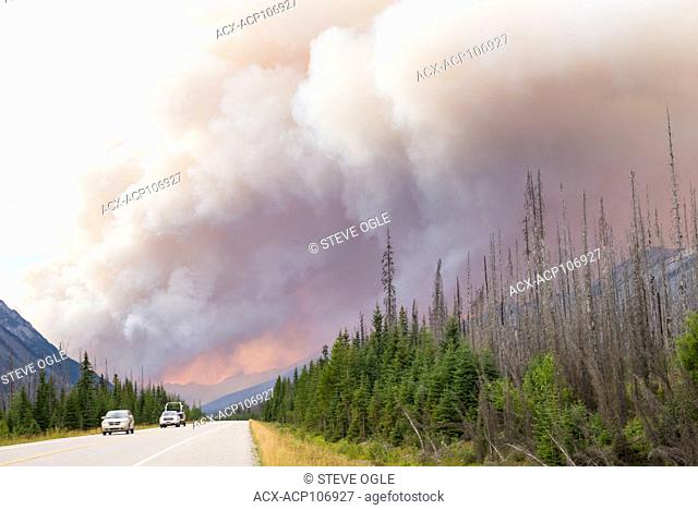 Traffic sneaks through a forest fire in Kootenay National Park, BC