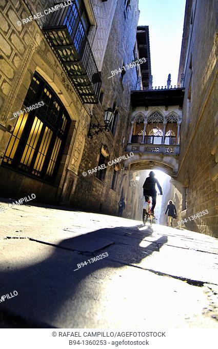 Obispo Irurita street(Carrer del bisbe). Gothic quarter, Barcelona, Catalonia, Spain