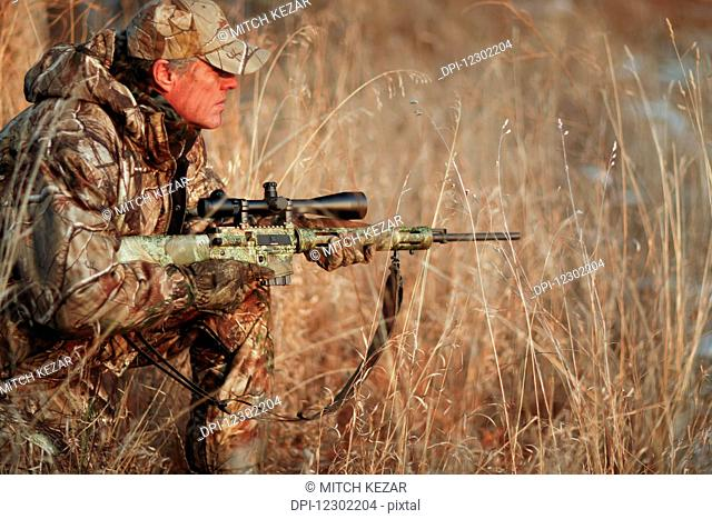 Predator Hunter Stalking In A Field With A Rifle