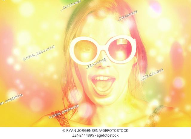 Vintage portrait of surprised retro pinup girl showing emotions with open mouth excitement. Abstract beauties
