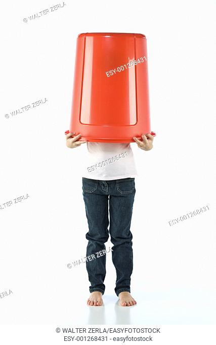 Girl with bin red on the head