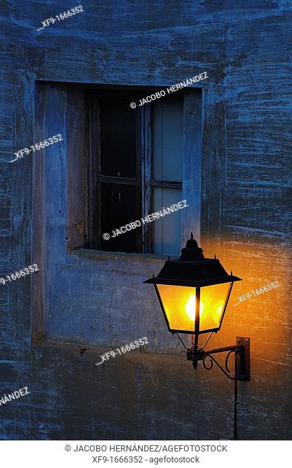 Lantern and window, Calatayud, Zaragoza province, Aragón, Spain