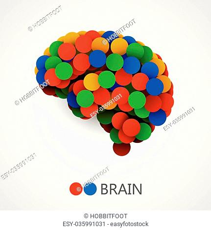 Abstract creative concept of brain made with circles. Brain icon. Brain icon vector. Brain vector. Brain colorful. Brain icon app. Brain icon image