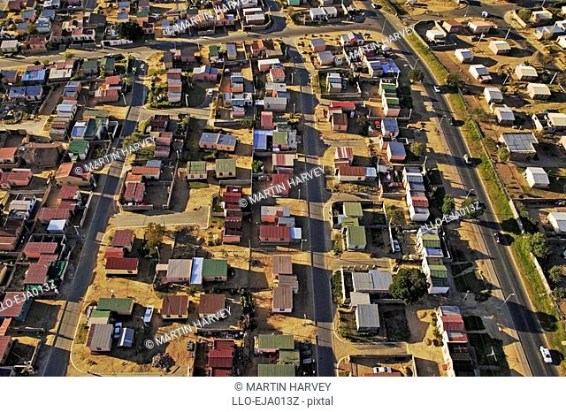 Aerial View of Low Cost Housing  Johannesburg, Gauteng Province, South Africa