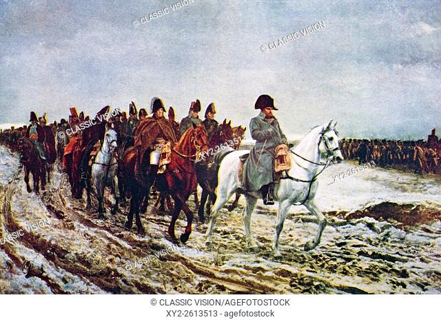 Napoleon and his staff returning from Soissons after the Battle of Laon, 1814. From the painting by Meissonier from the book The Outline of History by H