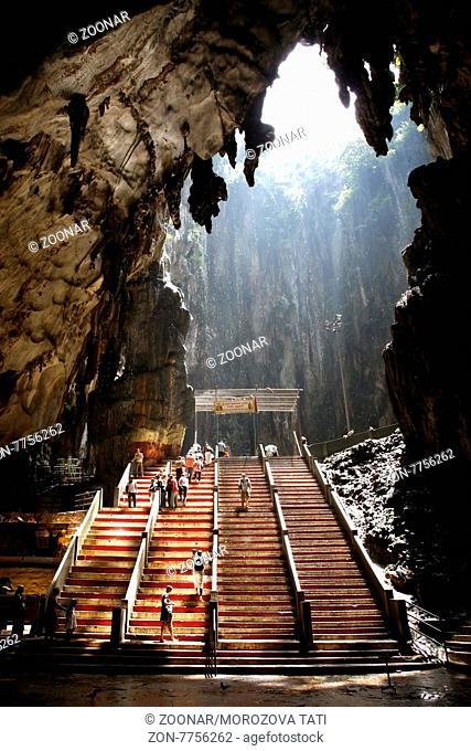 Ancient Batu Caves in Malaysia having a hindu temple inside. Kuala Lumpur