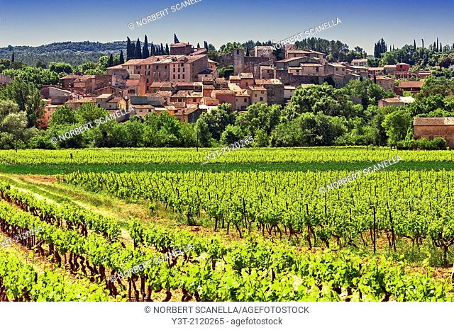 Europe, France, Var, Carces. The village of Carces and vineyards