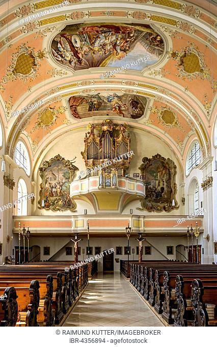 Organ loft, St. Martin in Garmisch, Garmisch-Partenkirchen District, Werdenfelser Land, Upper Bavaria, Bavaria, Germany