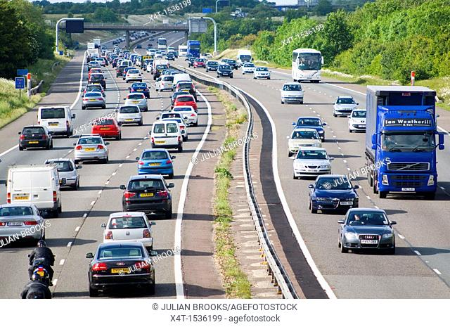 Bust traffic on the M40 Motorway the day before a bank holiday weekend