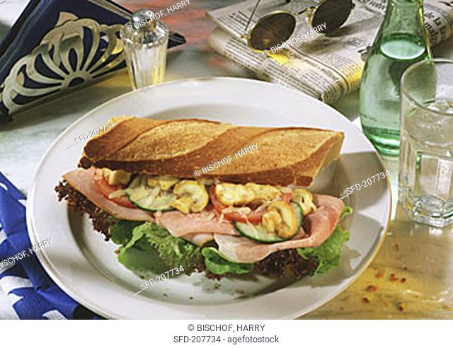 Ham Sandwich with Melted Cheese and Mushrooms