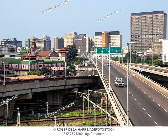 Freeways or Highways with the city skyline in the background. Durban or eThekwini. KwaZulu Natal. South Africa