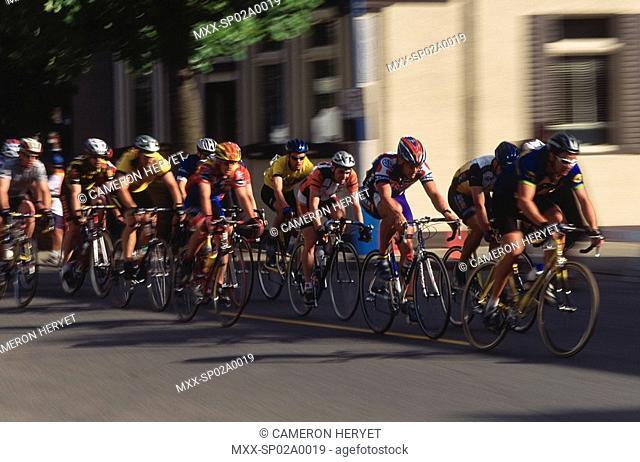 Blur of bike race, Tour de Delta, Ladner, BC