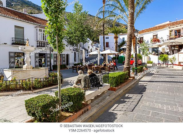 Street in the white hill village of Mijas, Costa del Sol, Andalusia, Spain, Europe