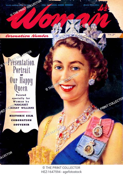 Queen Elizabeth II (b1926), 1953. From the front cover of Woman magazine (30 may 1953). Cropping restrictions are in place
