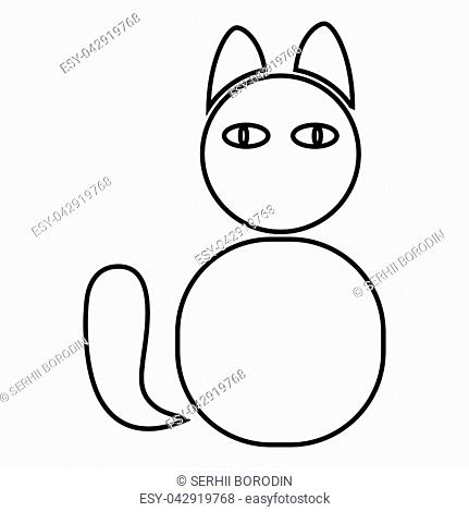 Cat icon black color vector illustration flat style simple image
