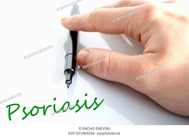 Pen in the hand isolated over white background psoriasis concept