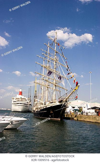 Tall ship 'Tenacious' berthed in Southampton during the Southampton International Boat Show