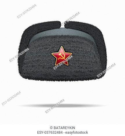 edb209763e7ac Russian black fur winter hat ushanka with red star. Illustration isolated  on white background