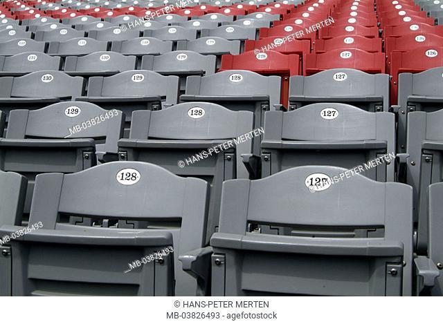 Seat rows, stadium, plastic seat, numbers