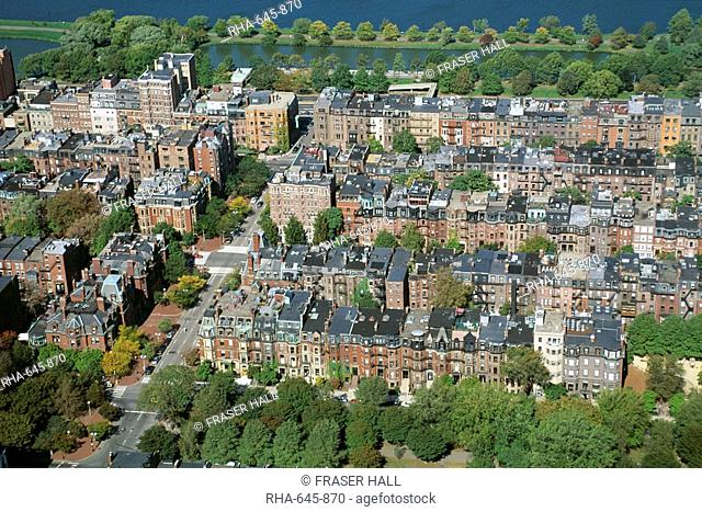 Aerial view of Back Bay area, Boston, Massachusetts, New England, United States of America U.S.A., North America