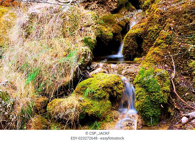 Mountains stream with moss stones