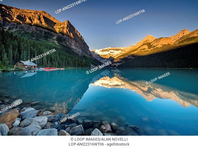 Sunrise at Lake Louise backed by the Victoria Glacier in the Canadian Rockies