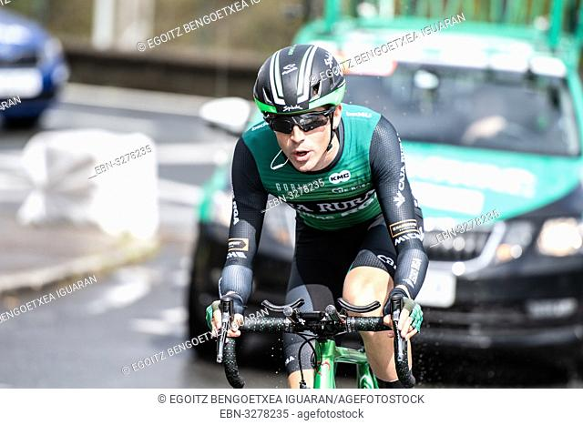 Cristian Rodriguez Martin at Zumarraga, at the first stage of Itzulia, Basque Country Tour. Cycling Time Trial race