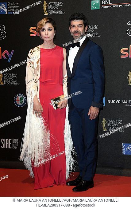 Anna Ferzetti, Pierfrancesco Favino during the red carpet of David di Donatello Awards, Rome, ITALY-27-03-2017