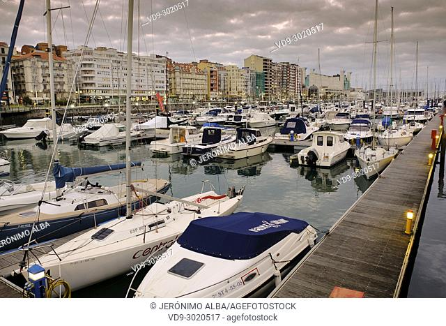 Puerto Chico marina port at sunset. Santander, Cantabrian Sea, Cantabria, Spain, Europe