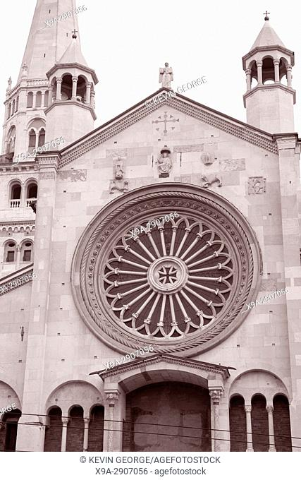 Facade of Cathedral Church, Modena, Italy in Black and White Sepia Tone