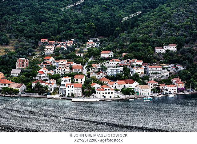 Waterfront village along the Bay of Kotor, Montenegro