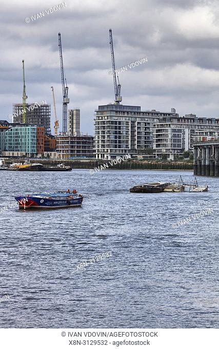 Enderby Wharf, Thames river, Greenwich, London, England, UK