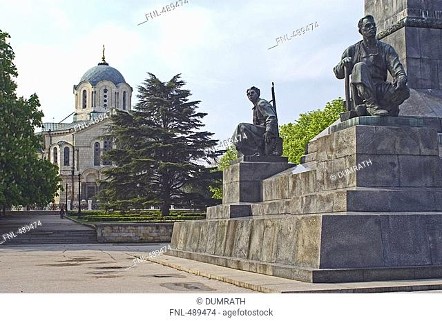 Monument in front of cathedral, St. Volodymyrs Cathedral, Ukraine