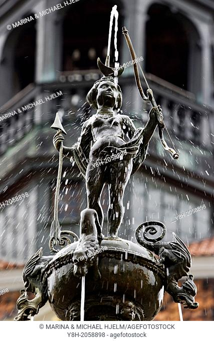 Luna Fountain in front of the Town Hall Lueneburg; Lower Saxony; Germany