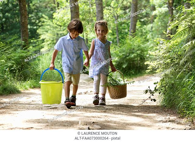 Children walking hand in hand in woods, carrying basket and bucket