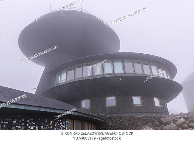 Polish Meteorological Observatory building on Sniezka Mountain in Karkonosze mountain range in Sudetes, on the border of Czech Republic and Poland